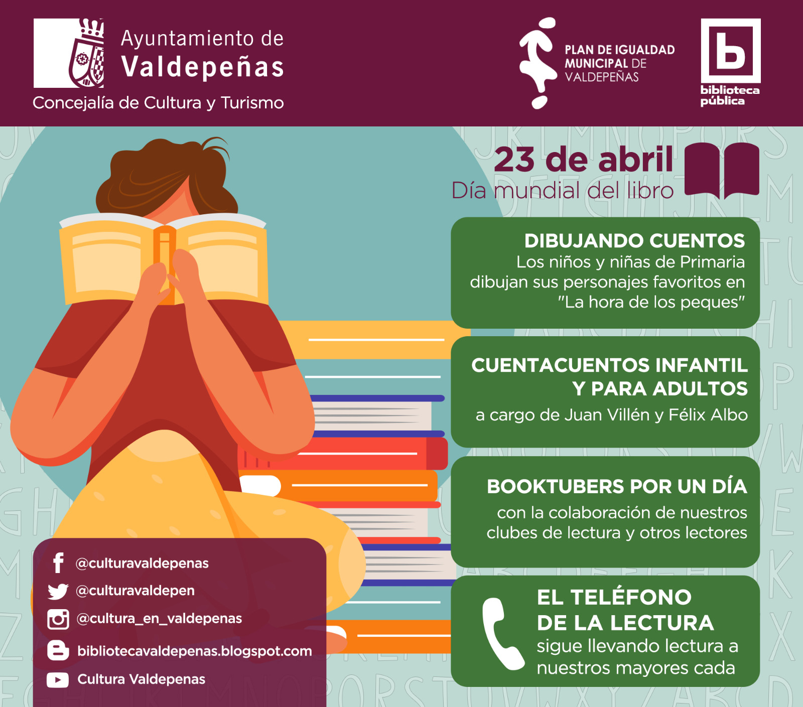 Valdepeñas celebrará el 'Día del Libro' con nuevos contenidos audiovisuales online